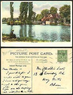 IFFLEY-MILL-Bridge-Old-Postcard-Angler-Angling-FISHING