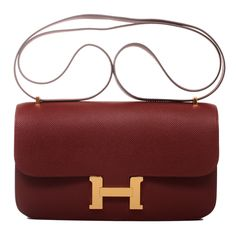 Hermes Constance Elan Epsom Bag in Rouge with Gold Hardware #hermes