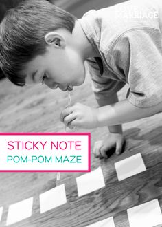 A great activity for vision/convergence (bringing the eyes together for fine motor skills):  Sticky Note Pom Pom Maze Game from Love and Marriage Blog