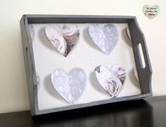 Grey Pink Hearts Shabby Chic Decoupage Mahogany Vanity Tray Serving Art Craft by LaMaisonShabbyChic on Etsy