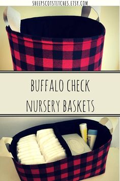 Buffalo Check Plaid Diaper Caddy Great for your babys Woodland Rustic Nursery Decor. Store Diapers and other items you need on hand for dressing and changing baby. This fabric storage basket makes the ideal diaper caddy for your nursery decor. The perfect baby shower gift, filled with items for a new baby. Help mom out by stocking this divided bin with diapers, wipes, creams, and other baby products the new Mama will need close at hand on her changing table. Sturdy construction means this…