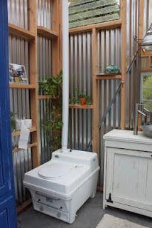 Bathroom & Composting toilet - for dream yurt Yurt Living, Tiny House Living, Small Living, Outside Toilet, Outdoor Toilet, Outdoor Bathrooms, Outdoor Baths, Outdoor Showers, Glamping