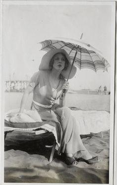 Diana Cooper, The Lido, Venice, Italy [August 1932 Cecil Beaton].