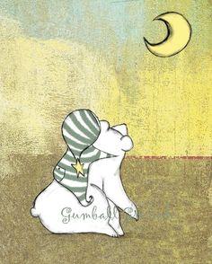 Baby Boy Nursery Art My Bear and the Moon 8 x 10 Print Polar Bear and Moon
