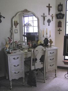Other side of Prayer room. Prayer For Family, Prayer Room, Prayers, Room Ideas, Dressing, Rustic, Mirror, My Style, Simple