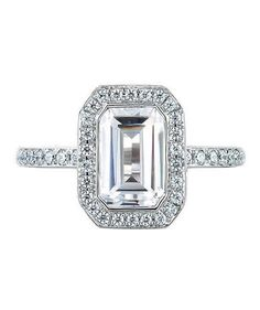 A.Jaffe Art Designed Two Tone Halo Emerald Ring | From asscher to round, take a peek at the elegant options for engagement rings.