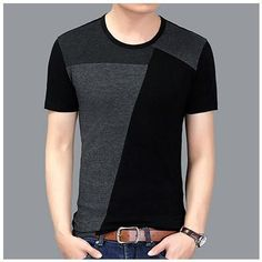 Liseaven Men Short Sleeve Patchwork T-Shirt Black Gray Slim Fit Cotton T Shirt Men Plus Size Tee Tops 2017 Casual T Shirts, Men Casual, Casual Styles, T Shirt Noir, Plus Size Tees, Twill Shirt, Spring Shirts, Long Sleeve Shirt Dress, Lacoste