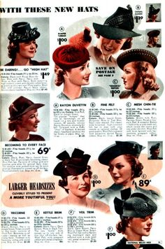 A stylish array of hats from the National Bella Hess Fall and Winter catalog, 1939-1940.