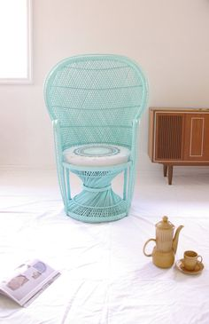 Made to Order  Pastel Peacock Chair Mint Green with Upcycled Vintage Cushion on Etsy, $453.00 AUD