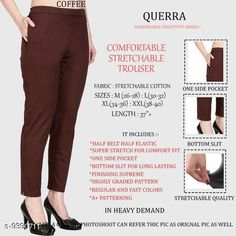 Checkout this latest Women Trousers Product Name: *Women Comfort Stretchable Trouser* Fabric: Cotton Lycra Pattern: Solid Multipack: 1 Sizes:  26, 28, 30, 32, 34, 36, 38, 40, 42 Country of Origin: India Easy Returns Available In Case Of Any Issue   Catalog Rating: ★4.1 (2988)  Catalog Name: Women Comfort Stretchable Trouser CatalogID_1646493 C79-SC1034 Code: 013-9390711-327