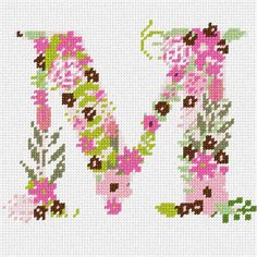 The Letter M Flowering (Large) Needlepoint Kit or Canvas Needlepoint Designs, Needlepoint Kits, Needlepoint Canvases, Cross Stitch Letters, Cross Stitch Flowers, Cross Stitching, Cross Stitch Embroidery, Cross Stitch Designs, Stitch Patterns