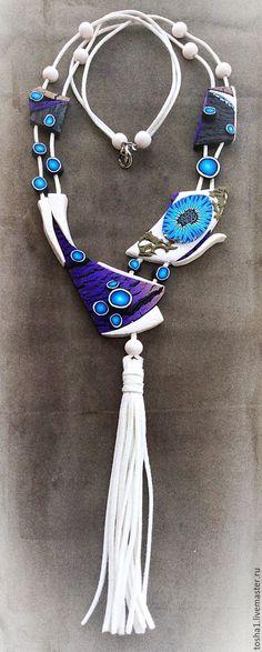 Купить Колье - комбинированный, фантазийный, sculpey, Термопластика, фиолетовый, колье ручной работы