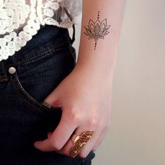 This bohemian lotus temporary tattoo is the perfect accessory this summer! It's cute and stylish at the same time! A temporary tattoo for any occasion! ................................................