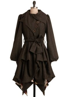 Imagined Adventures Coat in Flecked Mocha   Mod Retro Vintage Coats   ModCloth.com - StyleSays
