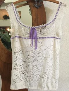 off all clothing for the month of May! Ecru Lace Top From Vintage Crocheted Lace Repurposed Women's Size Small ooak Shabby Magnolia Style Crochet Yoke, Crocheted Lace, Vintage Crochet, Vintage Lace, Hand Crochet, Backless Halter Top, Purple Ribbon, Lace Tops, Magnolia