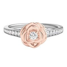 Enchanted by Disney 1/5 ct. tw. Diamond Belle Rose Ring in Sterling Silver