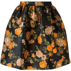 MSGM floral jacquard skirt (595 CAD) ❤ liked on Polyvore featuring skirts, black, colorful skirts, floral knee length skirt, multicolor skirt, msgm and floral print skirt
