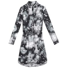 Mulberry - Shirt Dress in Black Maxi Floating Flowers Silk