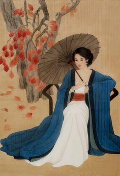 Geisha Drawing, Geisha Art, Dynasty Clothing, Ladies Umbrella, Kimono Japan, China Art, Chinese Painting, Disney Art, Chinese Culture