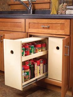 3 Kitchen Storage Projects Squeeze more space from your cabinets with customized roll-outs. by Eric Smith and David Radke It's time to increase the storage space in your kitchen by accessing its… Diy Kitchen Storage, Popular Woodworking, Home Diy, Kitchen Design, Woodworking Shop, Diy Kitchen, Kitchen Remodel, Kitchen Projects, Home Projects
