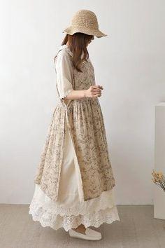 자수 멜빵원피스 - 레아린넨 Kawaii Dress, Hijab Fashion Inspiration, Designs For Dresses, Custom Dresses, Muslim Fashion, Japanese Fashion, Cute Fashion, Pattern Fashion, Dress Patterns