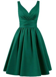Beautiful, knee length, matte satin dress, available in emerald green, Two…