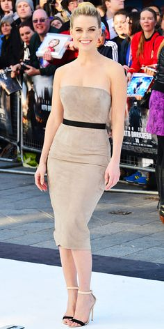 Alice Eve in suede Ermanno Scervino tube dress at the London premiere of 'Star Trek Into Darkness'