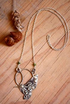 Nectar necklace, hummingbird jewelry in sterling silver