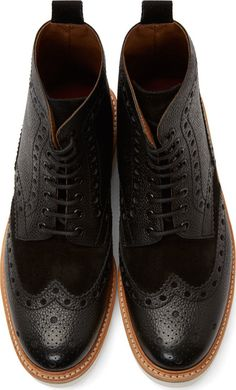 Grenson Black Leather Shortwing Brogue Fred Boots