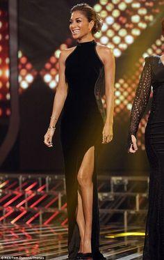 Nicole Scherzinger wearing Kurt Geiger Cilla pumps, Kristian Aadnevik AW 2013 Black Velvet Dress, Maria Francesca Pepe Thorn Shape Stud Earr...