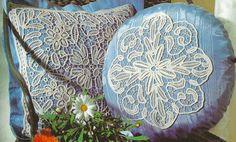 Anna Burda July 1998 - Macramé Crochet Lace - close up of pillow cushions: Fiber Art Reflections