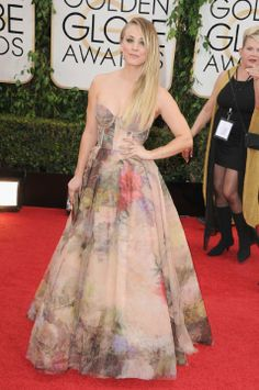 Kaley Cuoco love the dress - HATE the pattern on the fabric. it looks like a bedspread.  #2014GoldenGlobes #RedCarpet