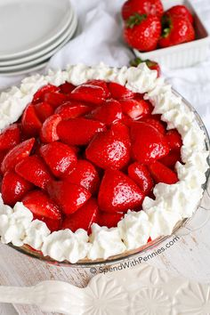 No Bake Strawberry Cheesecake Pie has creamy cheesecake topped with glazed fresh summer strawberries and a hint of lemon.