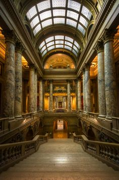 The main stairway in the Minnesota State Capitol. I remember being in awe while climbing those beautiful marble stairs as a 10 year old. Minnesota Home, Minneapolis Minnesota, Supreme Court Building, Minnesota Historical Society, Marble Stairs, Unique Architecture, Architectural Elements, Historical Sites, Stairways