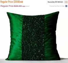 Throw Pillows -Emerald Green Silk Pillows -Sparkle Pillow covers -Green Beads Sequin Embroidered Pillow -Gift -New Year -Anniversary Orange Throw Pillows, Green Pillows, Couch Pillows, Glam Pillows, Accent Pillows, Sequin Pillow, Silk Pillow, Cushion Pillow, Housewarming Gifts