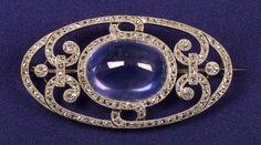 Art Deco Platinum, Diamond and Sapphire Brooch