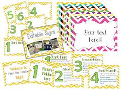 Editable chevron table signs.  Great for classroom management, meet the teacher night, back to school, or open house