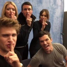 "lol, funny video of PLL cast. Ian Harding yelling ""quiet"" while Troian Bellisario, Sasha Pieterse, Keegan Allen and Huw Collins do the ""shhh"" finger"