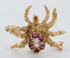 Vintage 14 Karat Yellow Gold Diamond Ruby Spider Bug Pin Brooch Estate Fine Jewelry Heirloom --- For sale on Ruby Lane