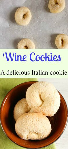 Wine cookies Ciambelle al Vino, a delicious crunchy not too sweet Italian fall cookie, made with white wine. Italian Cookie Recipes, Italian Cookies, Italian Desserts, Italian Foods, Cookie Desserts, Just Desserts, Delicious Desserts, Dessert Recipes, Cookie Table