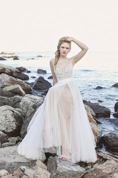 nude wedding dress | Amanda Berube Photography via @burnettsboards