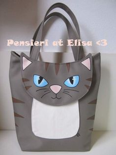 Borsa a forma di gatto a Pistoia - eBay Annunci Fabric Purses, Fabric Bags, Animal Bag, How To Make Purses, Cat Bag, Patchwork Bags, Denim Bag, Kids Bags, Purses And Bags