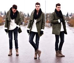 Winter season often makes one feel lazy. It is important to wear proper clothes for keeping warm and comfy during … Denim Jacket Fashion, Mens Fashion, Green Parka, Sharp Dressed Man, Men Street, Casual Fall, Men Dress, Winter Jackets, Men's Jackets