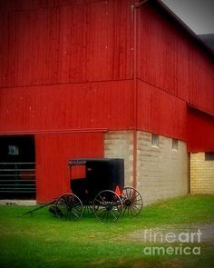 Readying the Buggy by Desiree Paquette. Available online at Fine Art America. keywords: amish, barn, red barn, vintage, rural America, americana