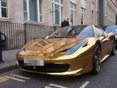 Kickboxer Riyadh Al-Azzawi Gold-covered Ferrari supercar