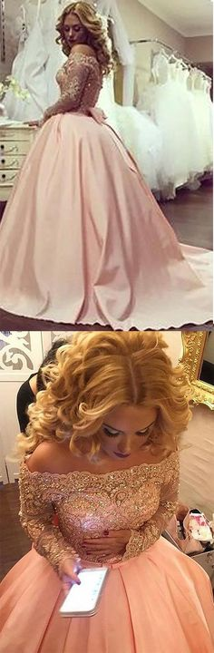 2019 New Arrival Ball Gown Boat Neck Satin With Applique Prom Dresses Long Sleeves, This dress could be custom made, there are no extra cost to do custom size and color Prom Party Dresses, Quinceanera Dresses, Formal Dresses, Wedding Dresses, Custom Made Prom Dress, Prom Dresses Long With Sleeves, Elastic Satin, Elegant, Boat Neck