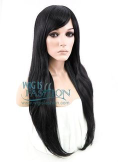 "28"" Long Wavy Black Fashion Synthetic Hair Wig GM01"