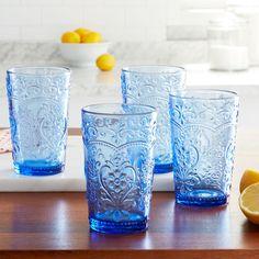 Pioneer Woman Glasses, Pioneer Woman Set, Pioneer Woman Kitchen, Pioneer Women, Pioneer Woman Dinnerware, Blue Drinking Glasses, Tea Glasses, Blue Juice, Blue Drinks