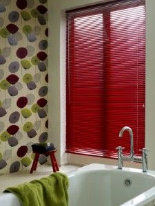Getting Bold With Mini Blinds! Bold #red #mini #blinds perfect for a pop of color in a bathroom