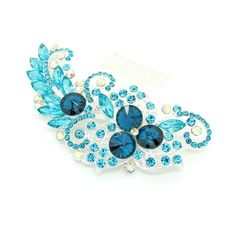 Vintage Style Encrusted Turquoise Silver Clear Diamante Crystal Gem... (48 BRL) ❤ liked on Polyvore featuring accessories, hair accessories, decorative combs, light blue, jeweled hair combs, fascinator hat, hair clip comb, hair comb and turquoise hair comb